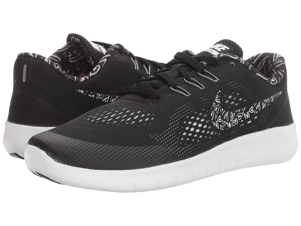 Nike Kids - Free RN Print (Big Kid) (Black/White/Lava Glow/White) Girls Shoes