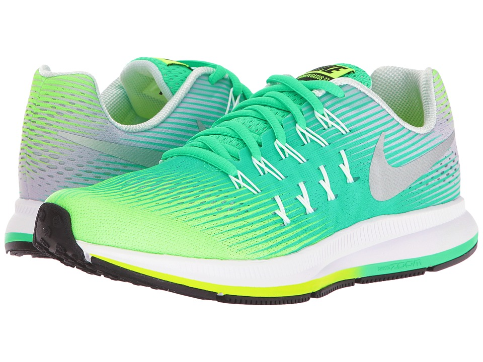 Nike Kids - Zoom Pegasus 33 (Little Kid/Big Kid) (Ghost Green/Metallic Silver) Girls Shoes