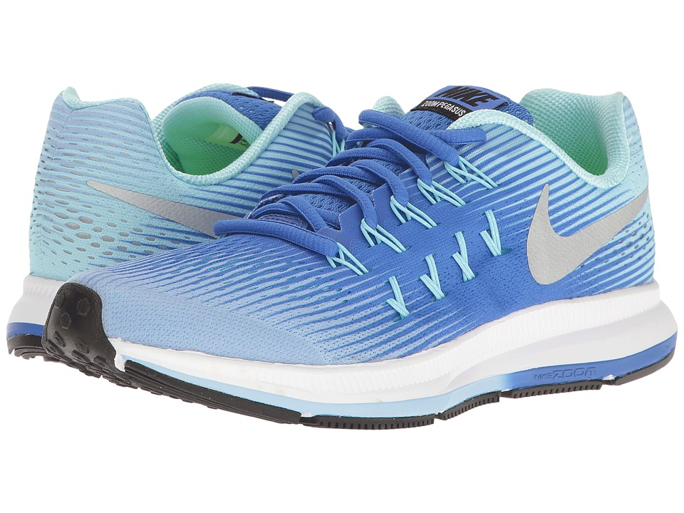 Nike Kids - Zoom Pegasus 33 (Little Kid/Big Kid) (Aluminum/Metallic Silver/Medium Blue) Girls Shoes