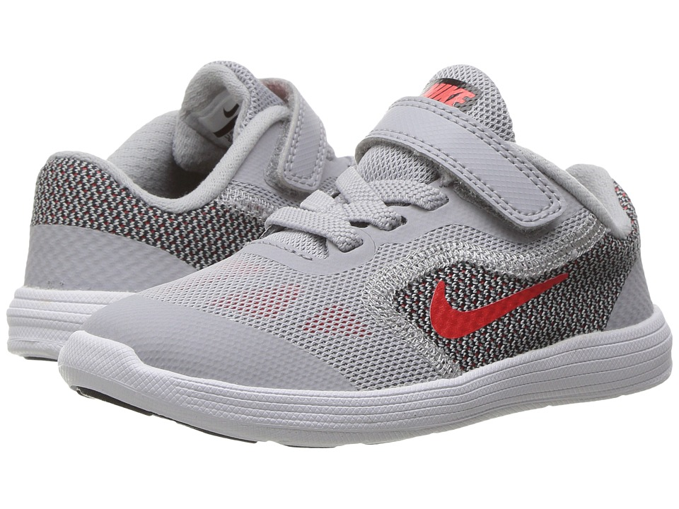 Nike Kids - Revolution 3 (Infant/Toddler) (Wolf Grey/Max Orange/Black/White) Boys Shoes