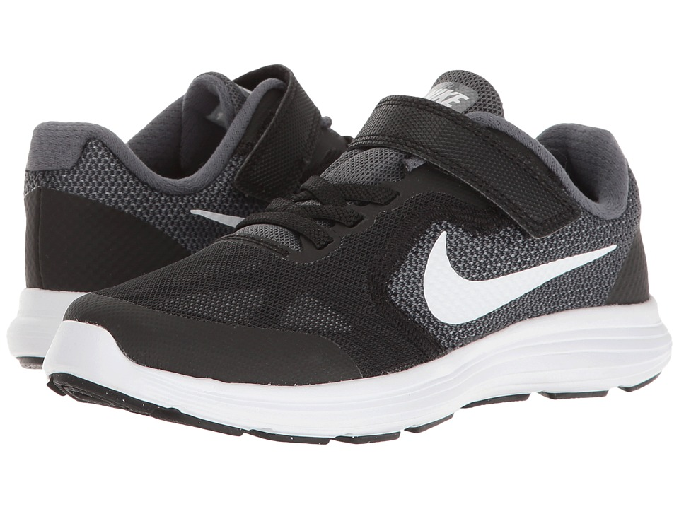 Nike Kids - Revolution 3 (Little Kid) (Dark Grey/White/Black/Pure Platinum) Boys Shoes