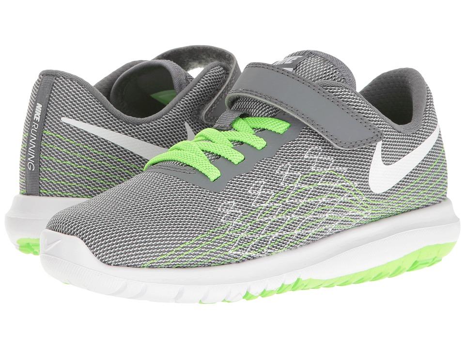 Nike Kids - Flex Fury 2 (Little Kid) (Cool Grey/White/Wolf Grey/Electric Green) Boys Shoes