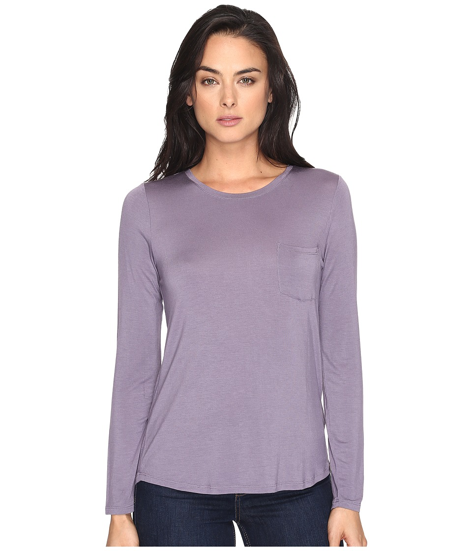 Prana - Foundation Long Sleeve Crew Neck Top (Purple Mountain) Women's Clothing