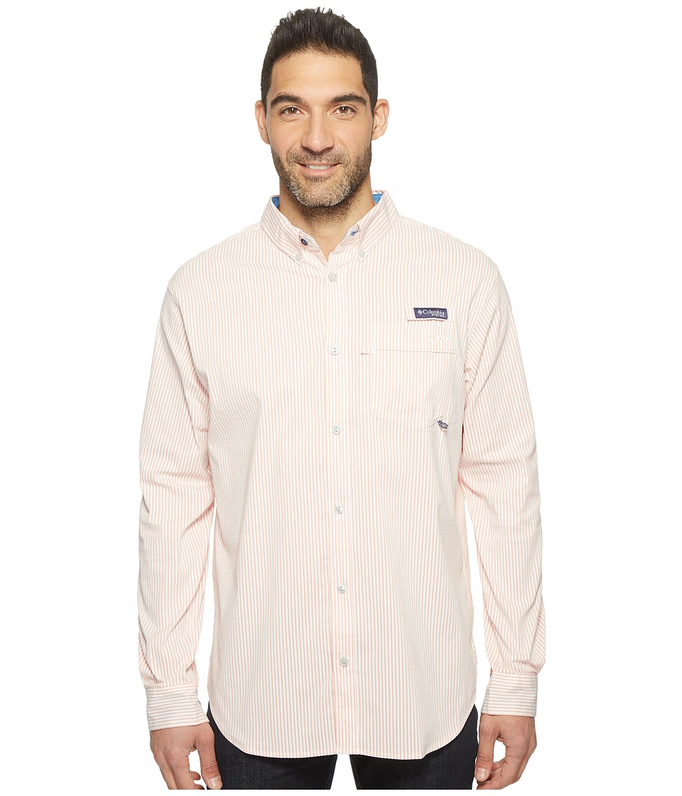 Columbia - Super Harborside Slim Fit Woven Long Sleeve Shirt (Bright Peach Seesucker Stripe) Men's Long Sleeve Button Up