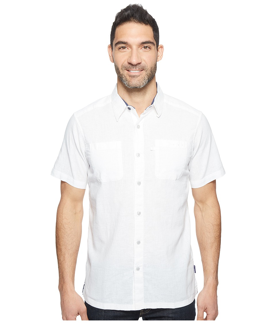 Columbia - Harborside Slim Fit Linen Camp Shirt (White/Collegiate Navy) Men's Short Sleeve Button Up