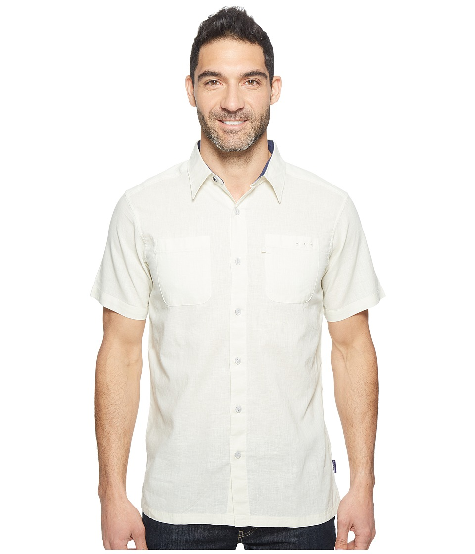 Columbia - Harborside Slim Fit Linen Camp Shirt (Stone/Collegiate Navy) Men's Short Sleeve Button Up