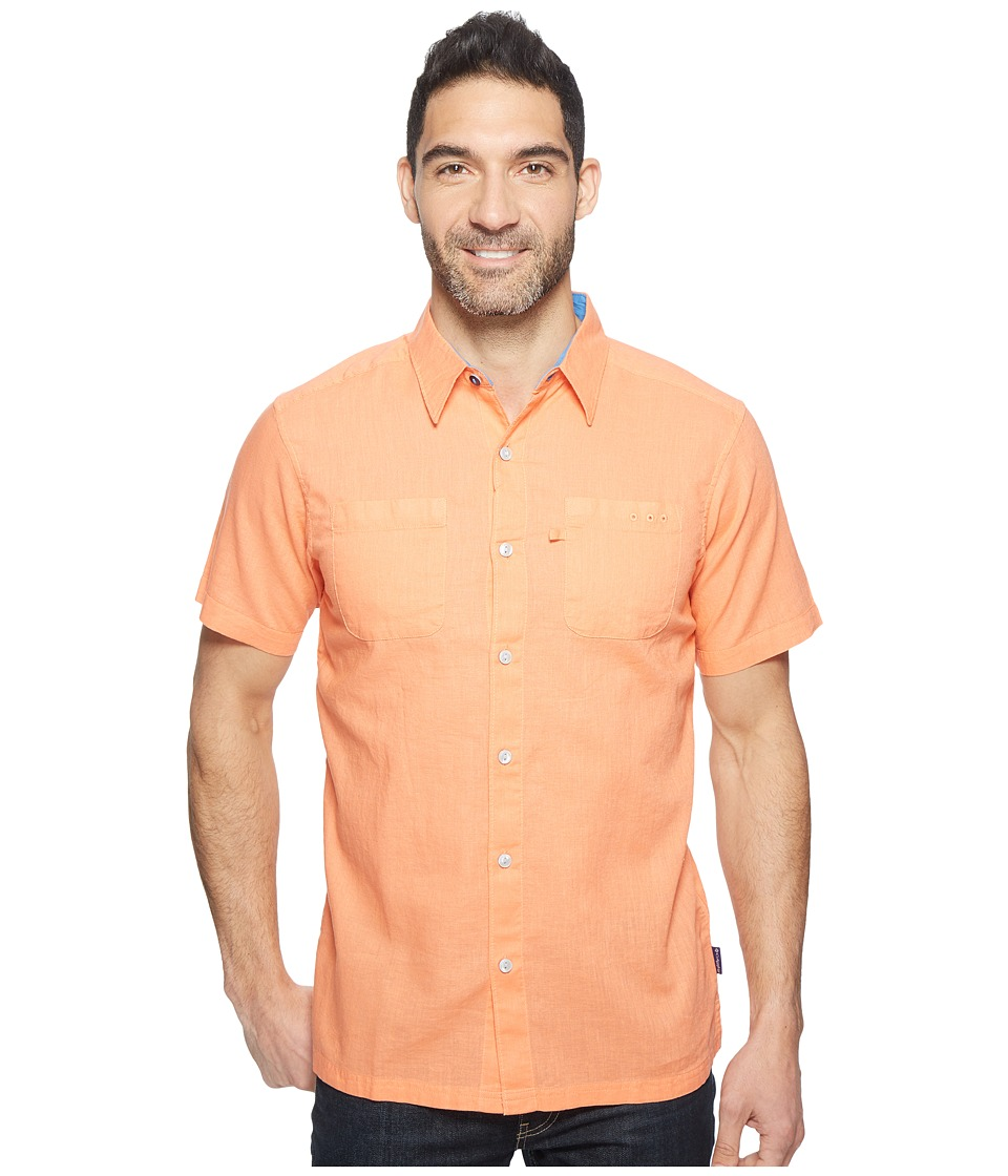 Columbia - Harborside Slim Fit Linen Camp Shirt (Bright Peach/Vivid Blue) Men's Short Sleeve Button Up