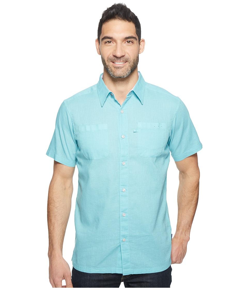 Columbia - Harborside Slim Fit Linen Camp Shirt (Moxie/Hydrangea) Men's Short Sleeve Button Up