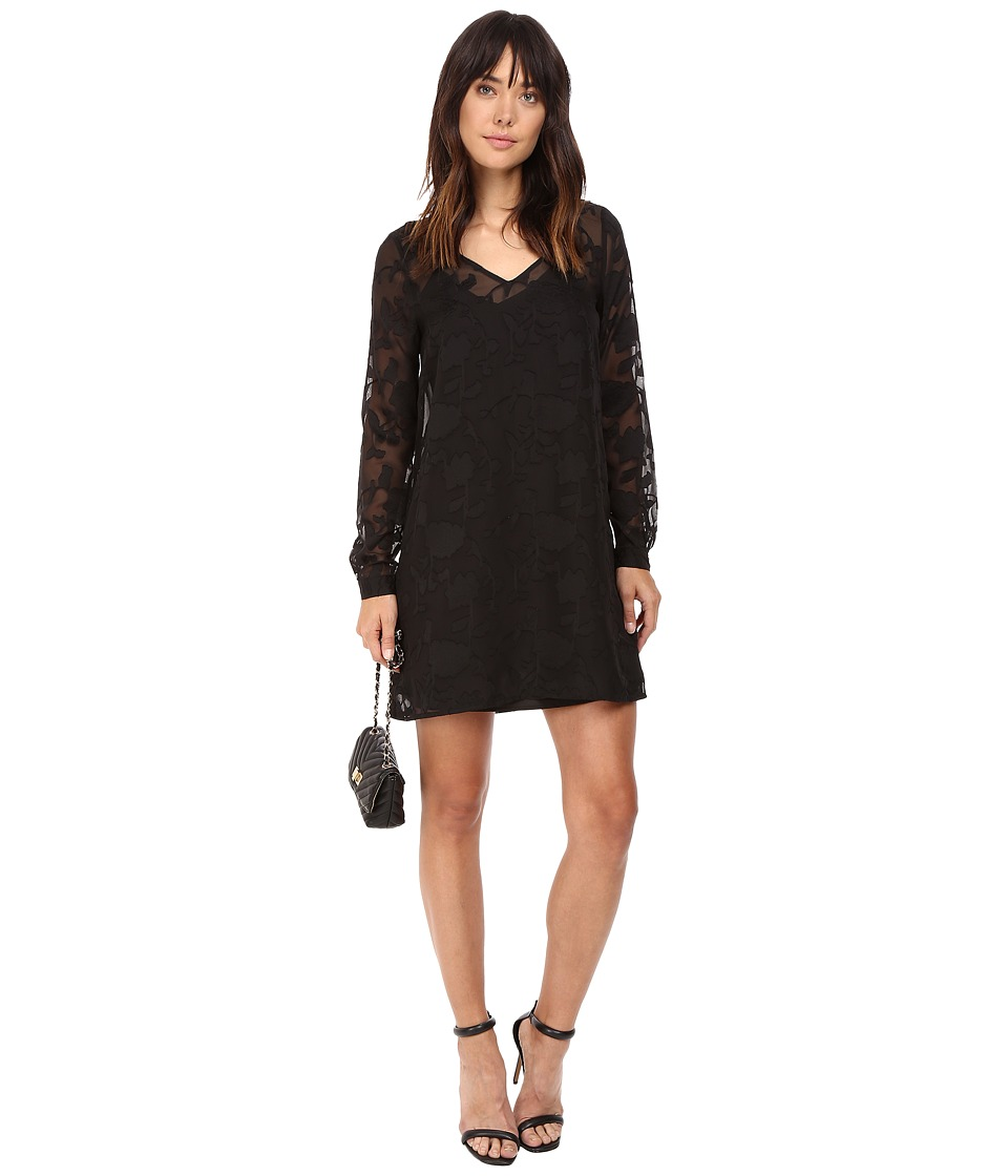 Jack by BB Dakota - Chae Floral Dobby Dress w/ Slip (Black) Women's Dress