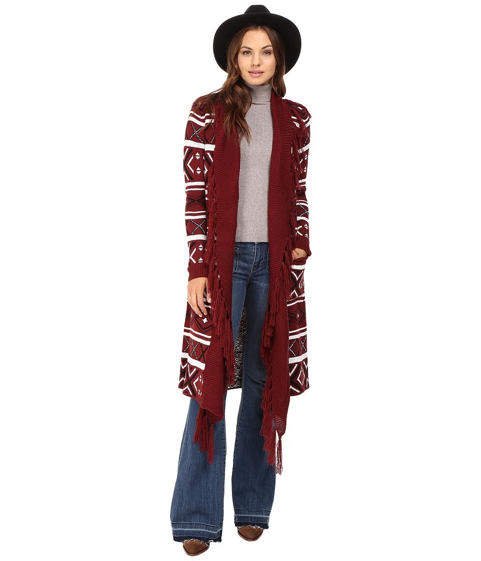 Jack by BB Dakota - Maribeth Intarsia Maxi Cardigan w/ Fringe (Burnt Red) Women's Sweater