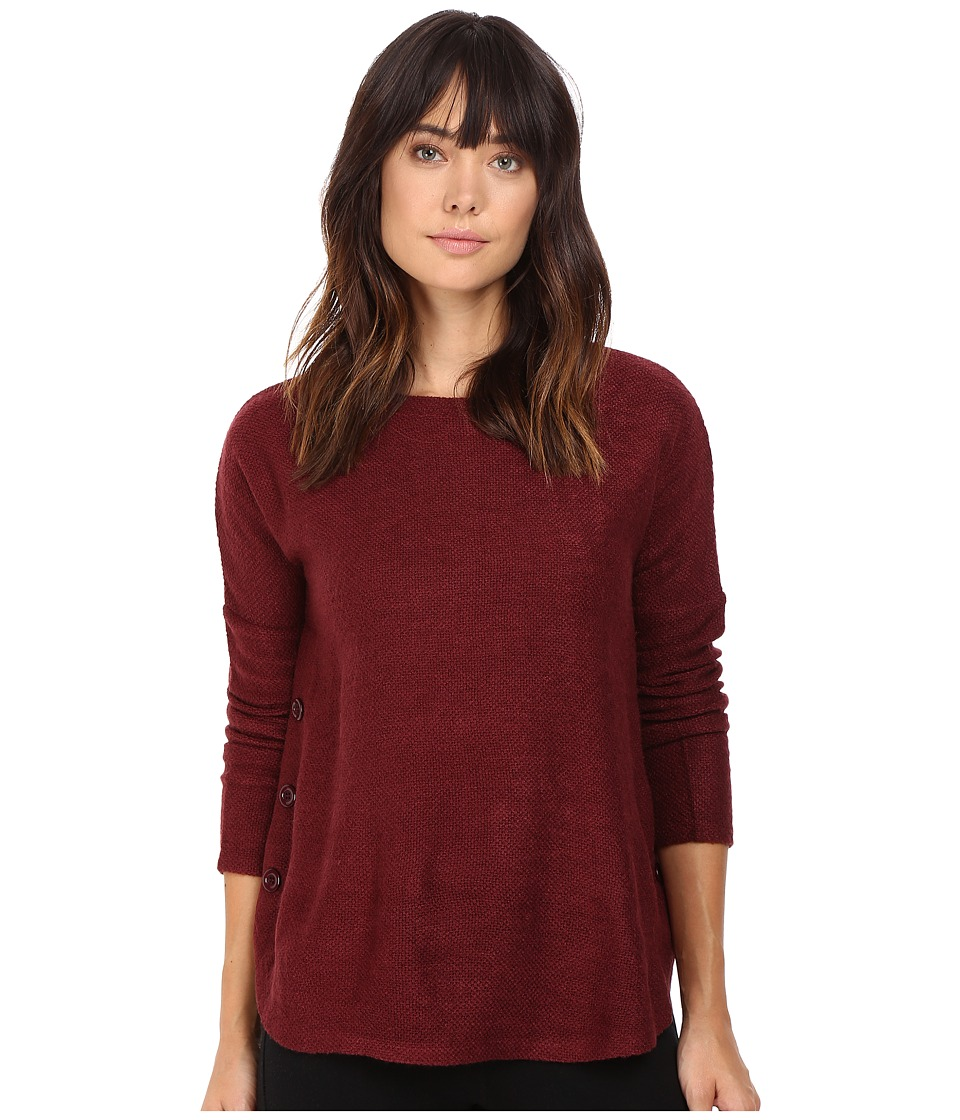 Jack by BB Dakota - Ryer Textured Knit Button Side Top (Burnt Red) Women's Clothing