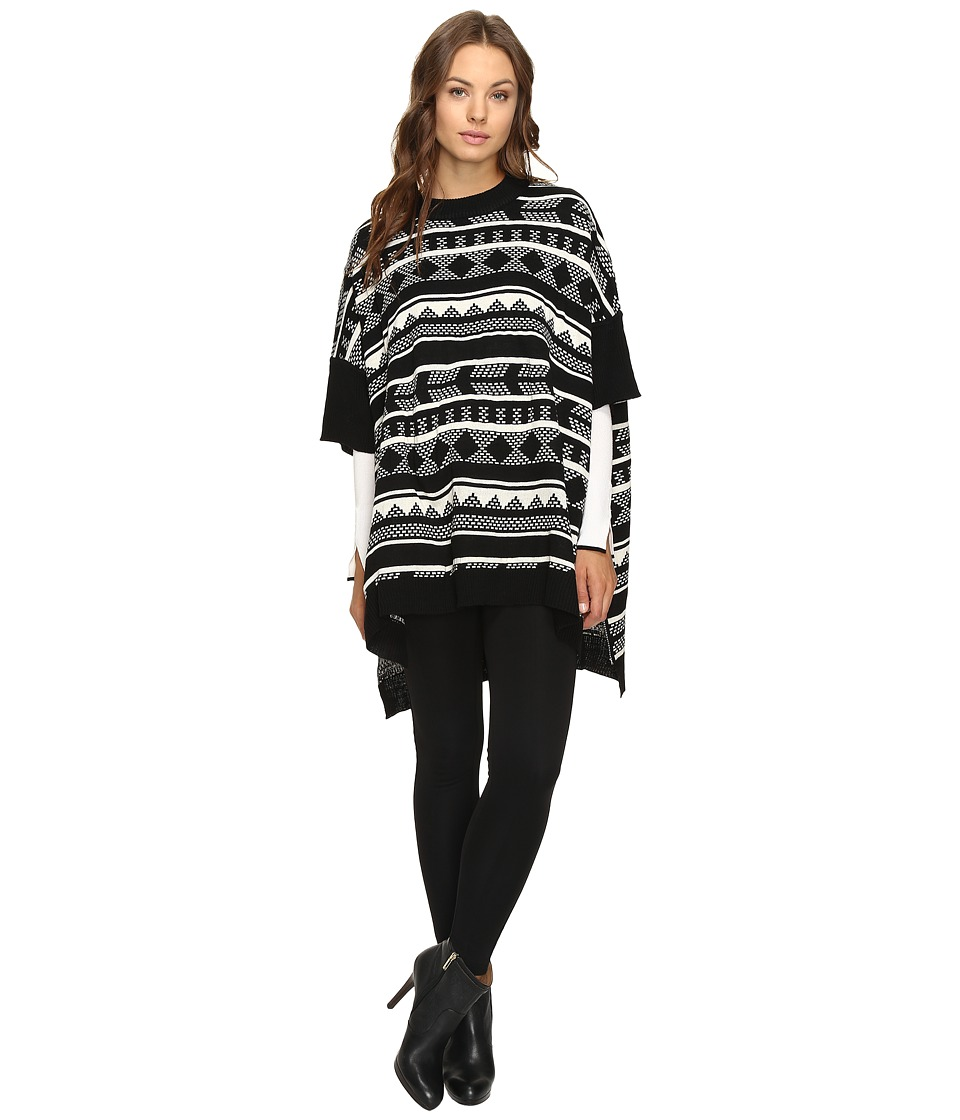 Jack by BB Dakota - Cyndi Jacquard Sweater Poncho (Black) Women's Sweater