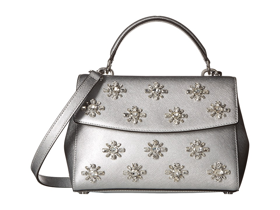 MICHAEL Michael Kors - Ava Jwl Sm Th Satchel (Silver) Satchel Handbags
