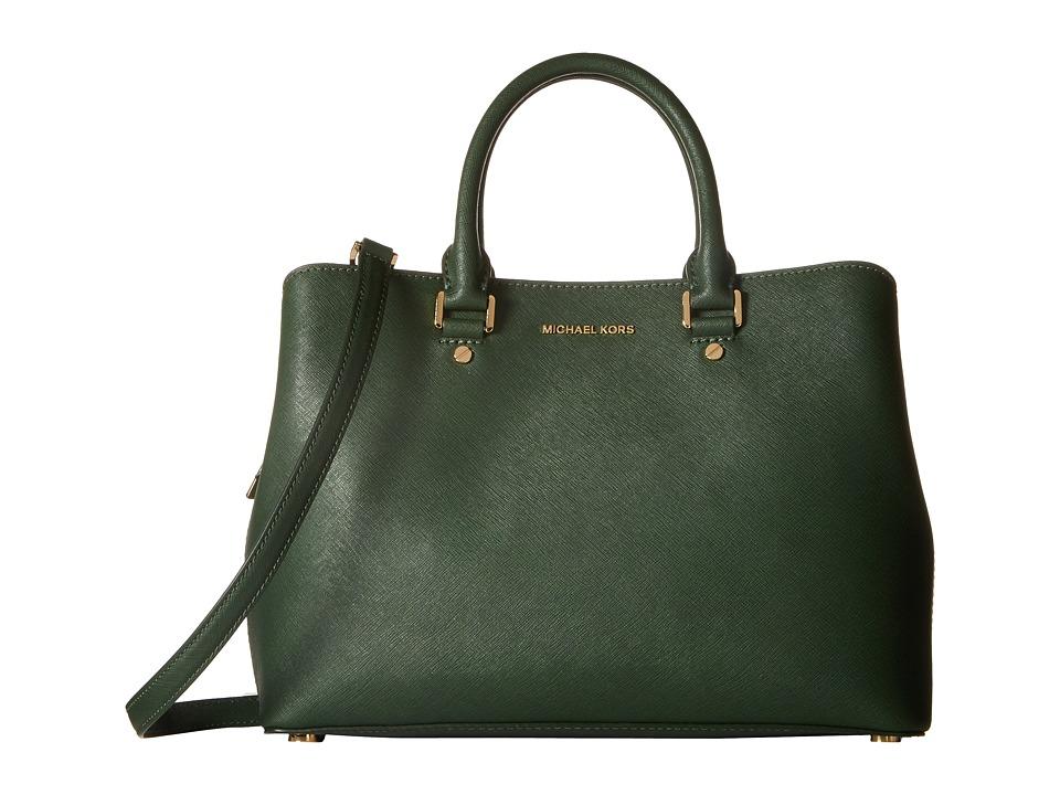 MICHAEL Michael Kors - Savannah Lg Satchel (Moss) Satchel Handbags