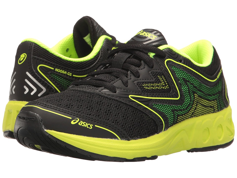 ASICS Kids - Noosa GS (Little Kid/Big Kid) (Black/Safety Yellow/Green Gecko) Boys Shoes