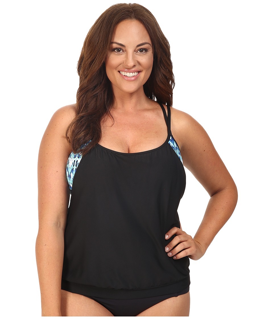 Next by Athena - Native Mantra Double Up 2 Tankini Top (D-Cup) (Black) Women's Swimwear