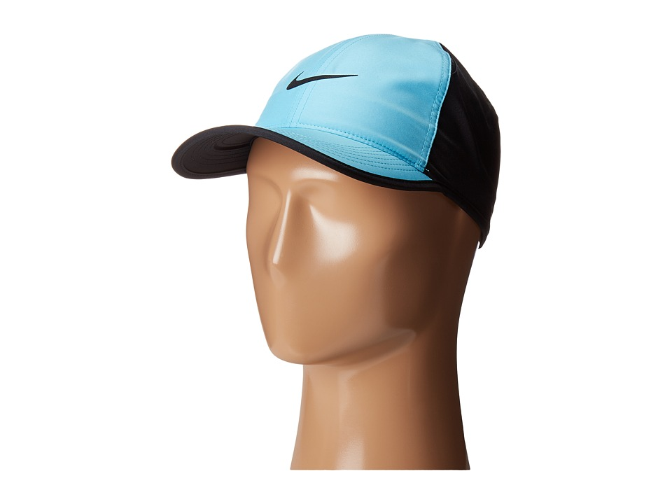 Nike - NikeCourt AeroBill Featherlight Tennis Cap (Vivid Sky/Black/Black/Black) Caps