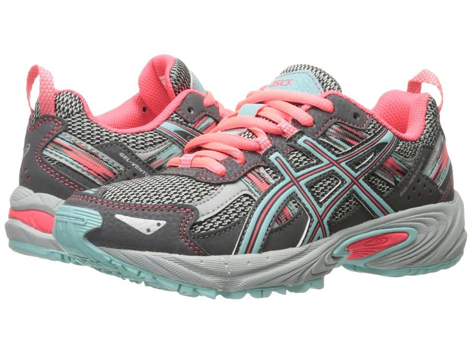 ASICS Kids - Gel-Venture(r) 5 GS (Little Kid/Big Kid) (Carbon/Aqua Splash/Diva Pink) Girls Shoes