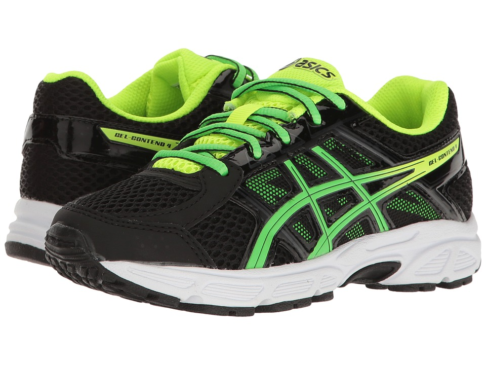 ASICS Kids - GEL-Contend 4 GS (Little Kid/Big Kid) (Black/Green Gecko/Safety Yellow) Boys Shoes