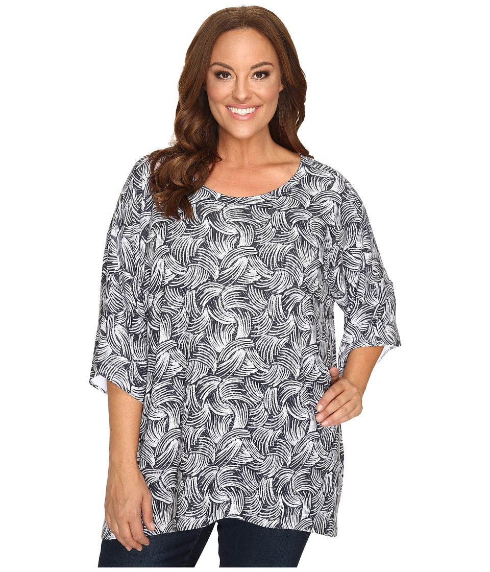 Nally & Millie - Plus Size Printed Boxy Sweater Top (Multi) Women's Sweater