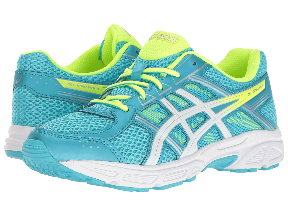 ASICS Kids - GEL-Contend 4 GS (Little Kid/Big Kid) (Aquarium/White/Safety Yellow) Girls Shoes