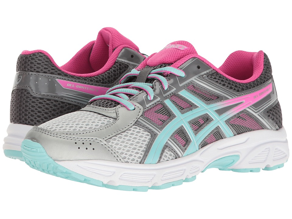 ASICS Kids - GEL-Contend 4 GS (Little Kid/Big Kid) (Silver/Aqua Splash/Hot Pink) Girls Shoes