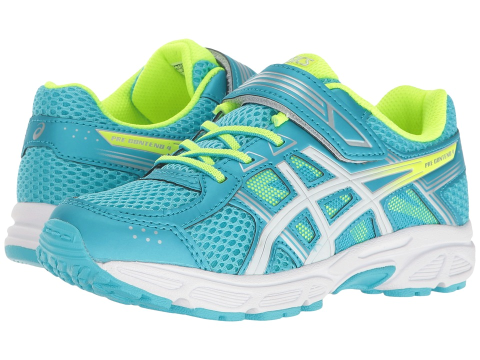 ASICS Kids - GEL-Contend 4 PS (Toddler/Little Kid) (Aquarium/White/Safety Yellow) Girls Shoes