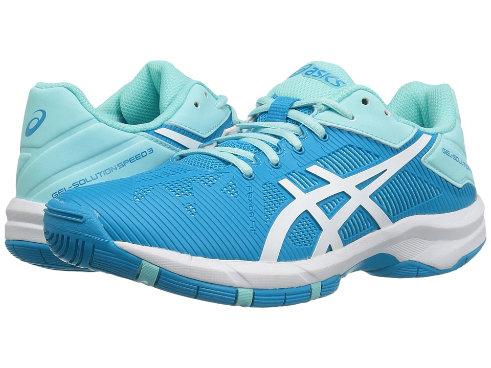 ASICS Kids - Gel-Solution(r) Speed 3 GS Tennis (Little Kid/Big Kid) (Aqua Splash/White/Diva Blue) Girls Shoes