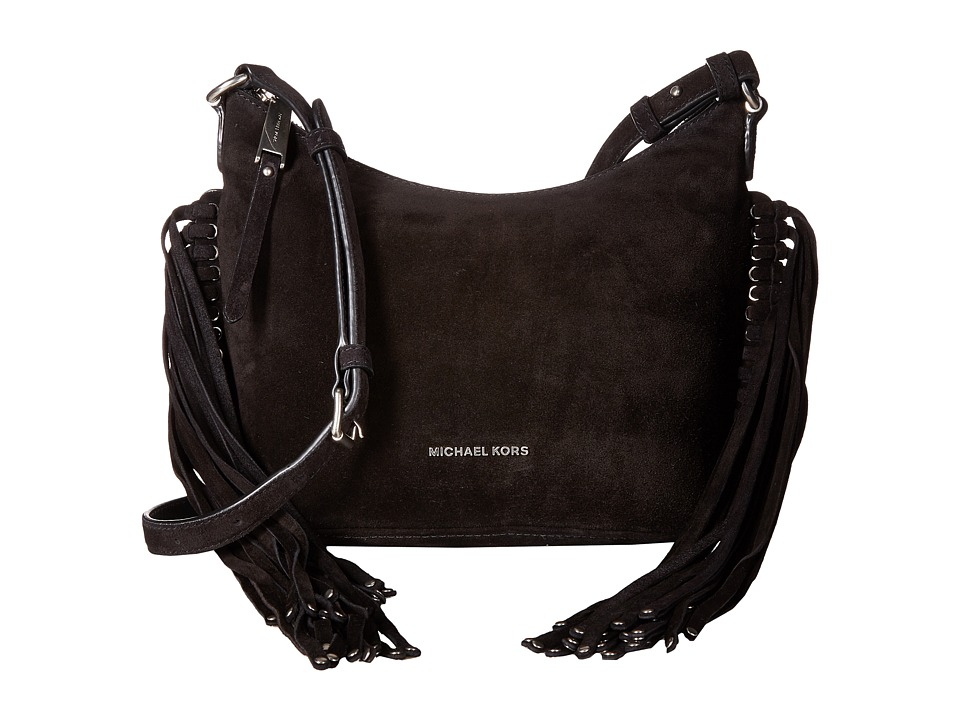 MICHAEL Michael Kors - Billy Medium Fringe Messenger (Black) Messenger Bags
