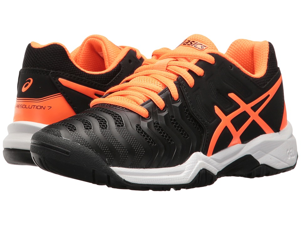 ASICS Kids - GEL-Resolution(r) 7 GS Tennis (Little Kid/Big Kid) (Black/Shocking Orange/White) Boys Shoes