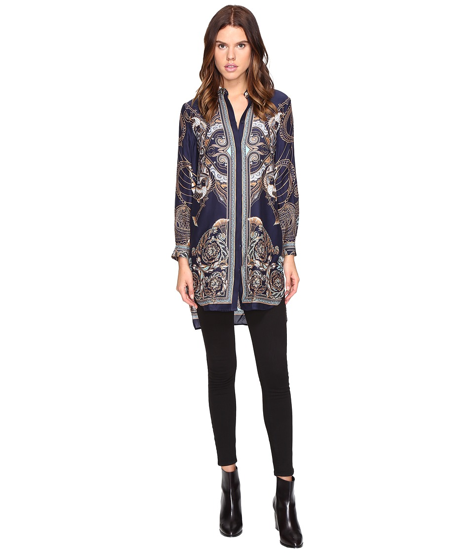 Versace Collection - Long Sleeve Printed Tunic (Blue/Stampa) Women's Blouse