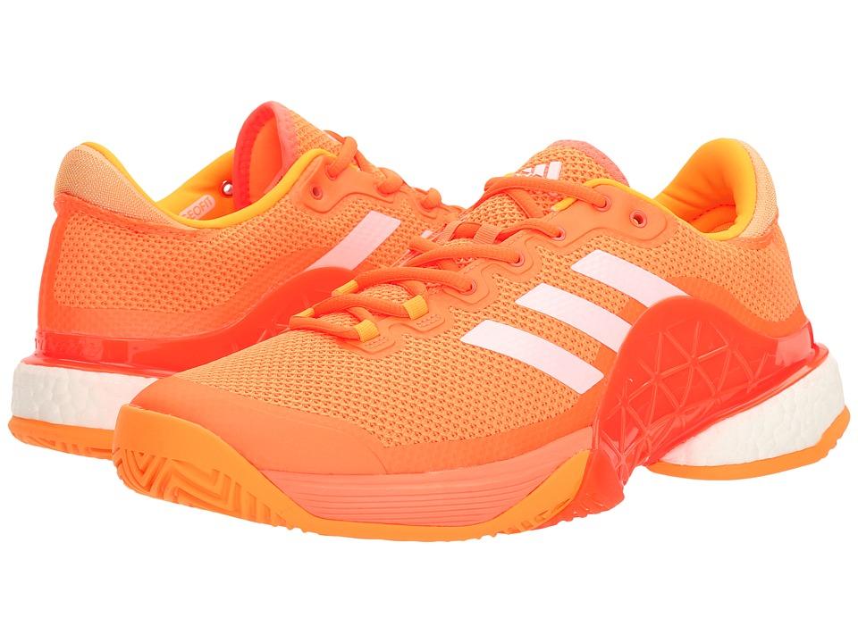 adidas - Barricade 2017 Boost (Glow Orange/Footwear White/Solar Gold) Men's Tennis Shoes