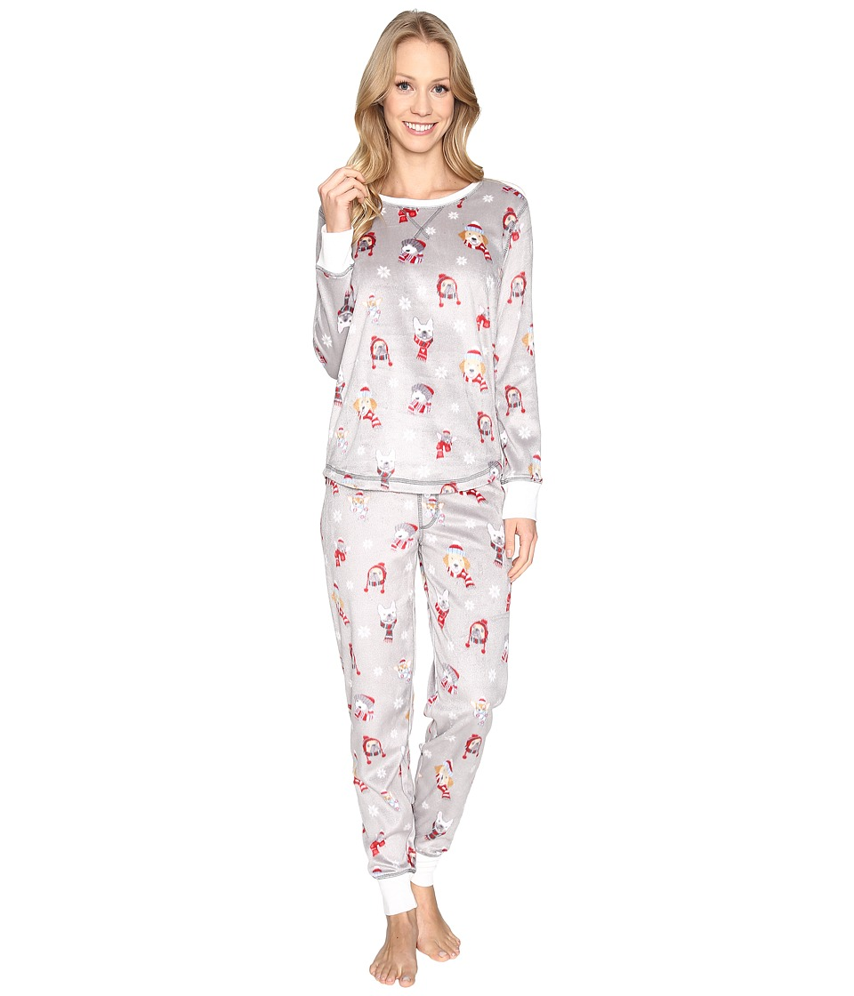 P.J. Salvage - Polar Pups Fleece PJ Set (Silver) Women's Pajama Sets