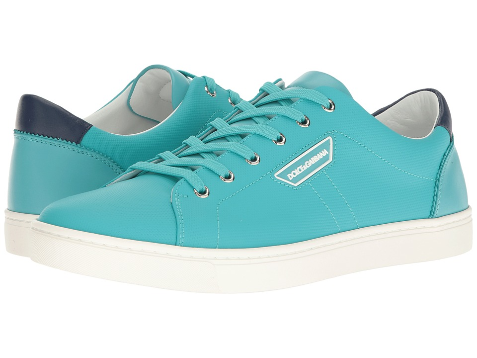 Dolce & Gabbana - London Rubberized Leather Sneaker (Teal) Men's Lace up casual Shoes