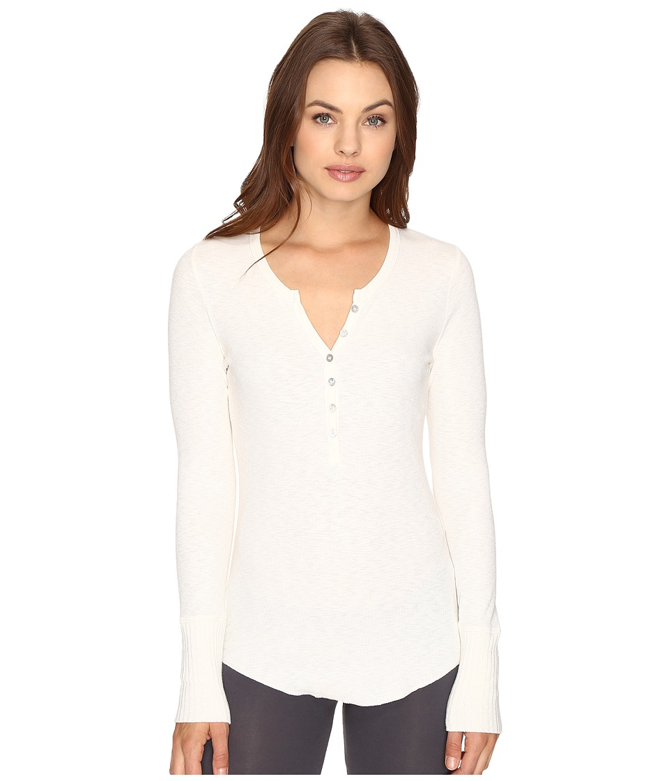 P.J. Salvage - Slub Henley Long Sleeve Tee (Natural) Women's Pajama