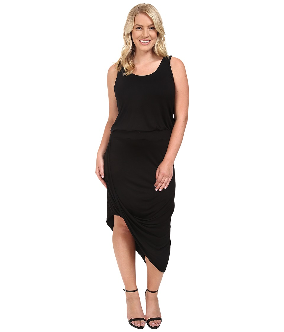 Culture Phit Plus Size Ginny Sleeveless Dress with Gathered Bottom (Black) Women