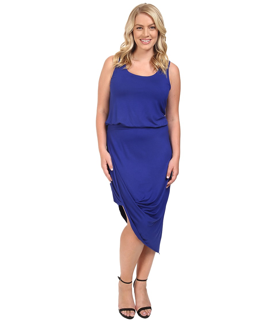 Culture Phit - Plus Size Ginny Sleeveless Dress with Gathered Bottom (Royal) Women's Dress