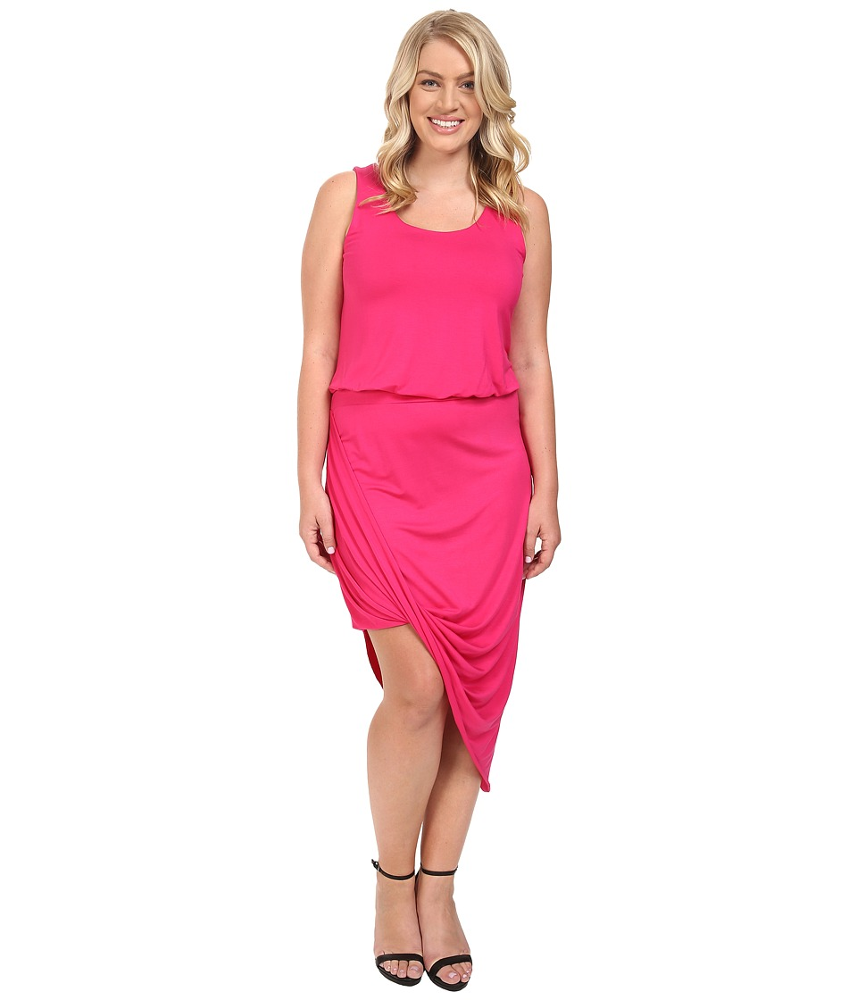 Culture Phit - Plus Size Ginny Sleeveless Dress with Gathered Bottom (Fuchsia) Women's Dress
