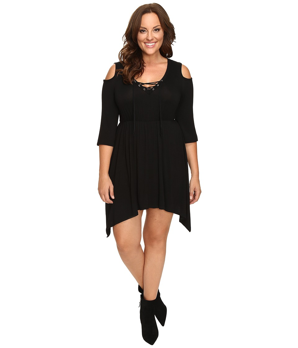 Culture Phit Plus Size Jeanie Cold Shoulder Dress (Black) Women