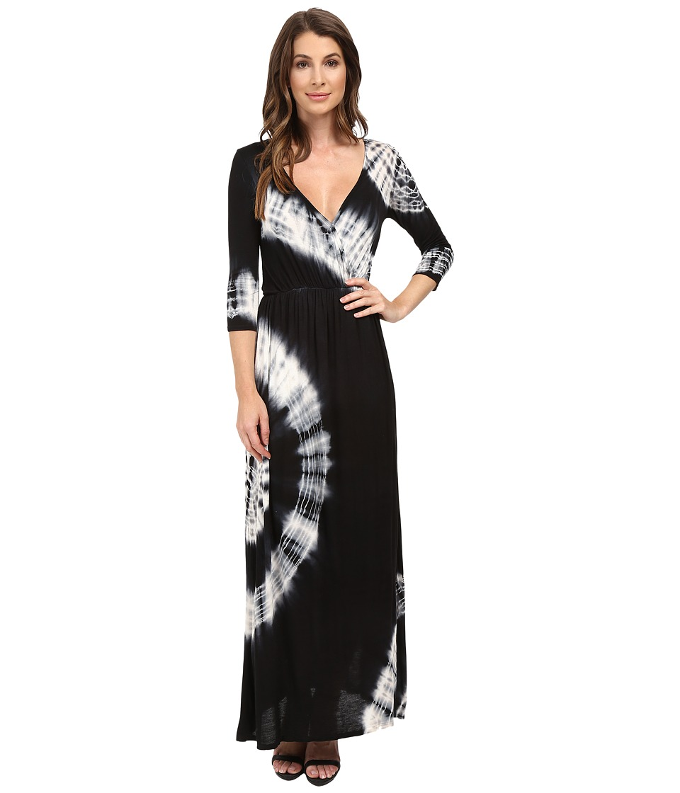 Culture Phit - Aaric Wrap Front 3/4 Sleeve Maxi Dress (Black/White) Women's Dress