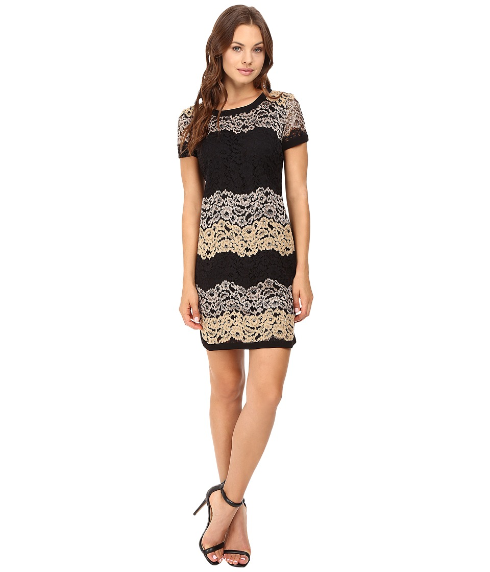 Donna Morgan - Easy Shift Dress with Combo (Black Multi) Women's Dress