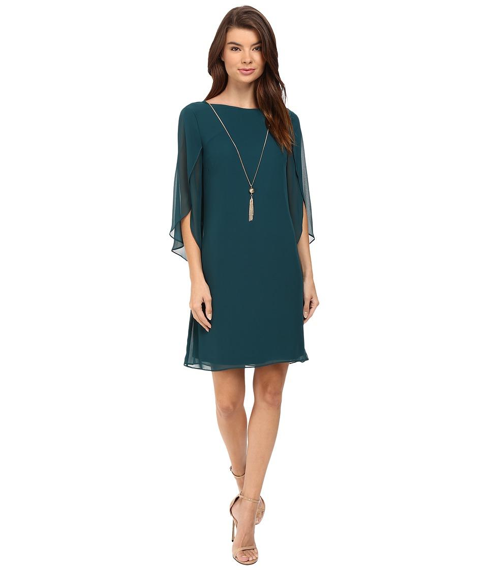 Christin Michaels Erin Woven Sheath Dress (Neo Emerald) Women