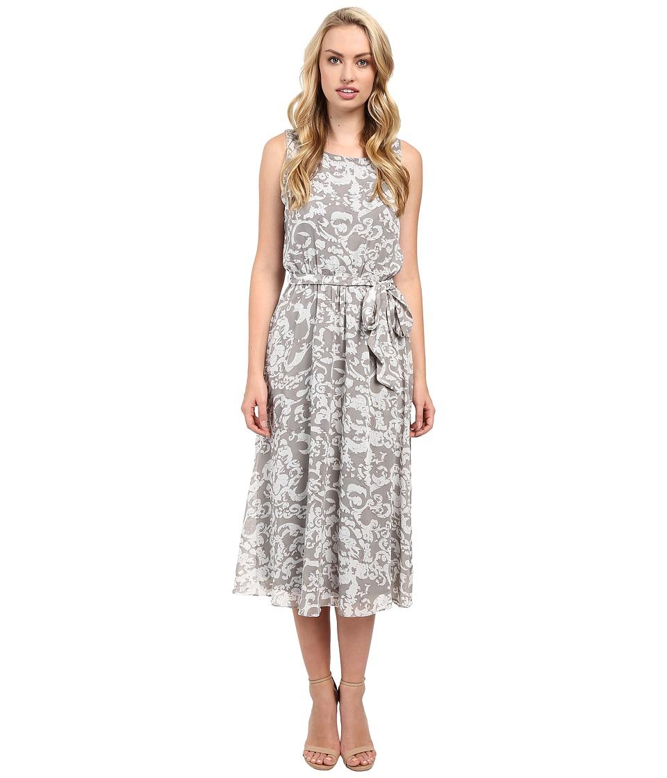 Christin Michaels - Turin Midi Dress w/ Belt Tie (White/Grey) Women's Dress
