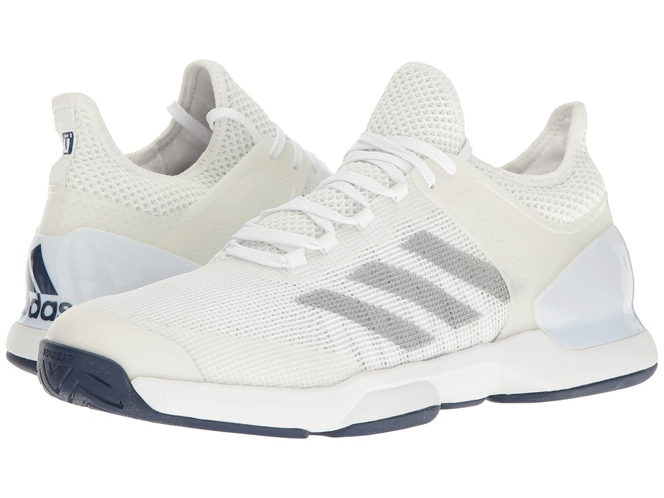 adidas - Adizero Ubersonic 2 (Footwear White/Silver Metallic/Mystery Blue) Men's Tennis Shoes