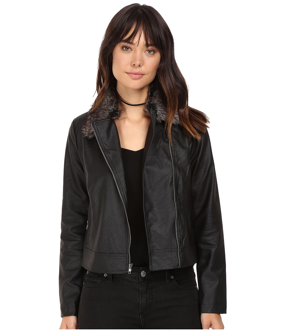 Jack by BB Dakota - Leonce Textured Faux Leather Jacket w/ Removable Faux Fur Collar (Black) Women's Coat