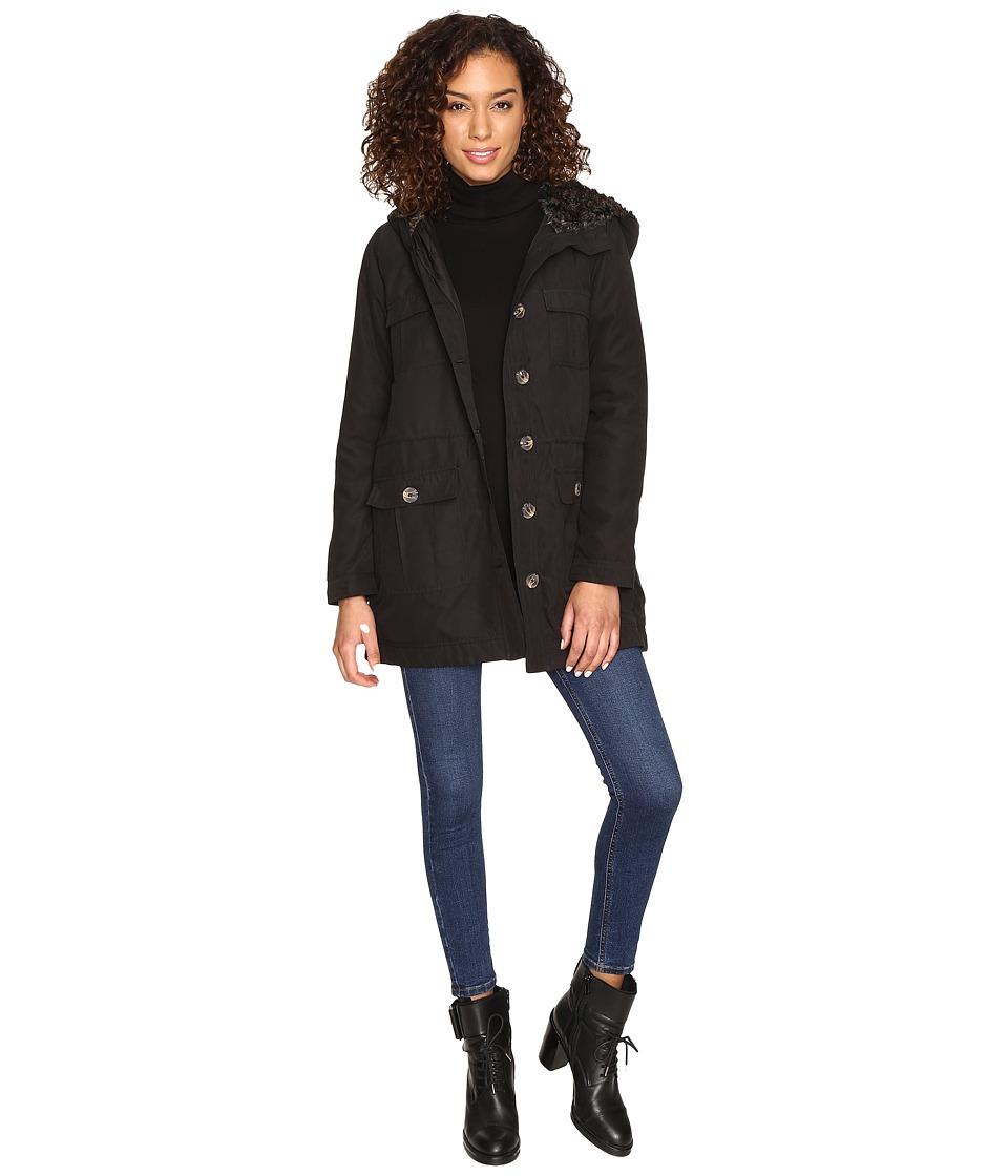 Jack by BB Dakota - Gregor Microfiber Coat W/ Fur Lined Hood (Black) Women's Coat