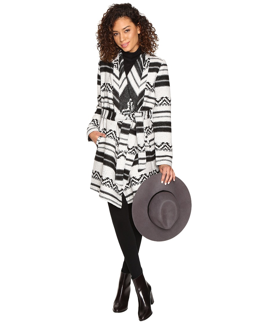 Jack by BB Dakota - Basin Belted Jacquard Coat (Black) Women's Coat