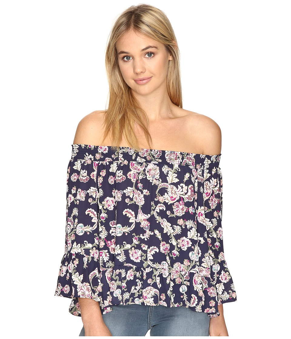 Jack by BB Dakota - Nicolai Printed Crepe De Chine Off the Shoulder (Navy) Women's Clothing