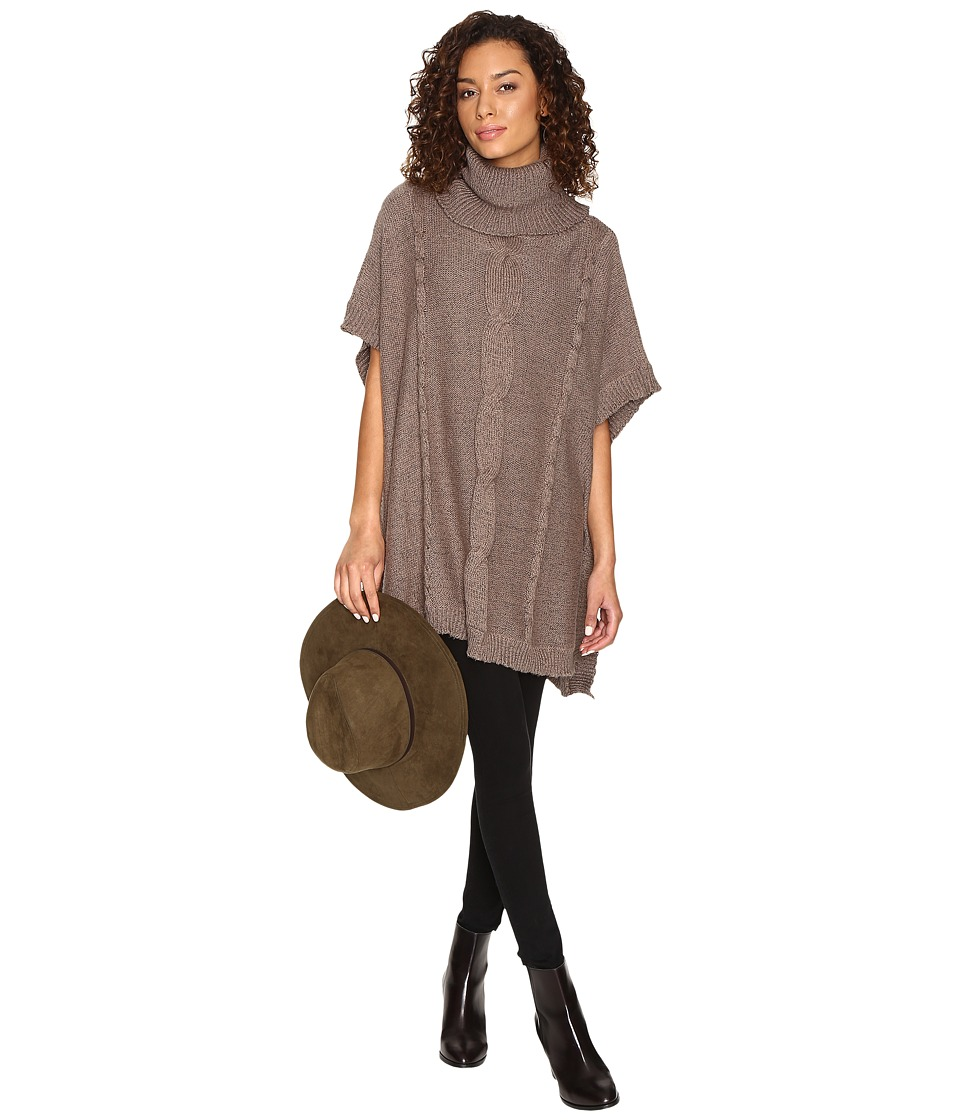 Jack by BB Dakota - Keandre Marled Cable-Knit Poncho (Stone Brown) Women's Clothing