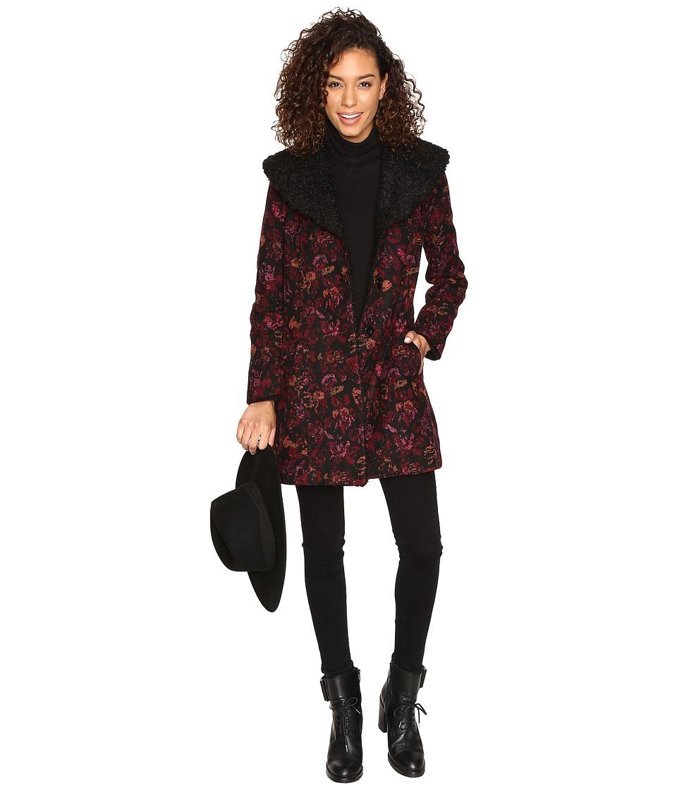 Jack by BB Dakota - Elanora Floral Jacquard Coat w/ Sherpa Collar (Black) Women's Coat